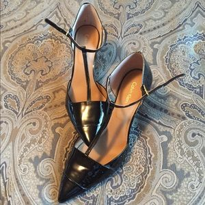 Calvin Klein patent leather t strap pumps